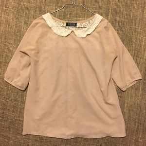 Cream and White Blouse with Lace Details